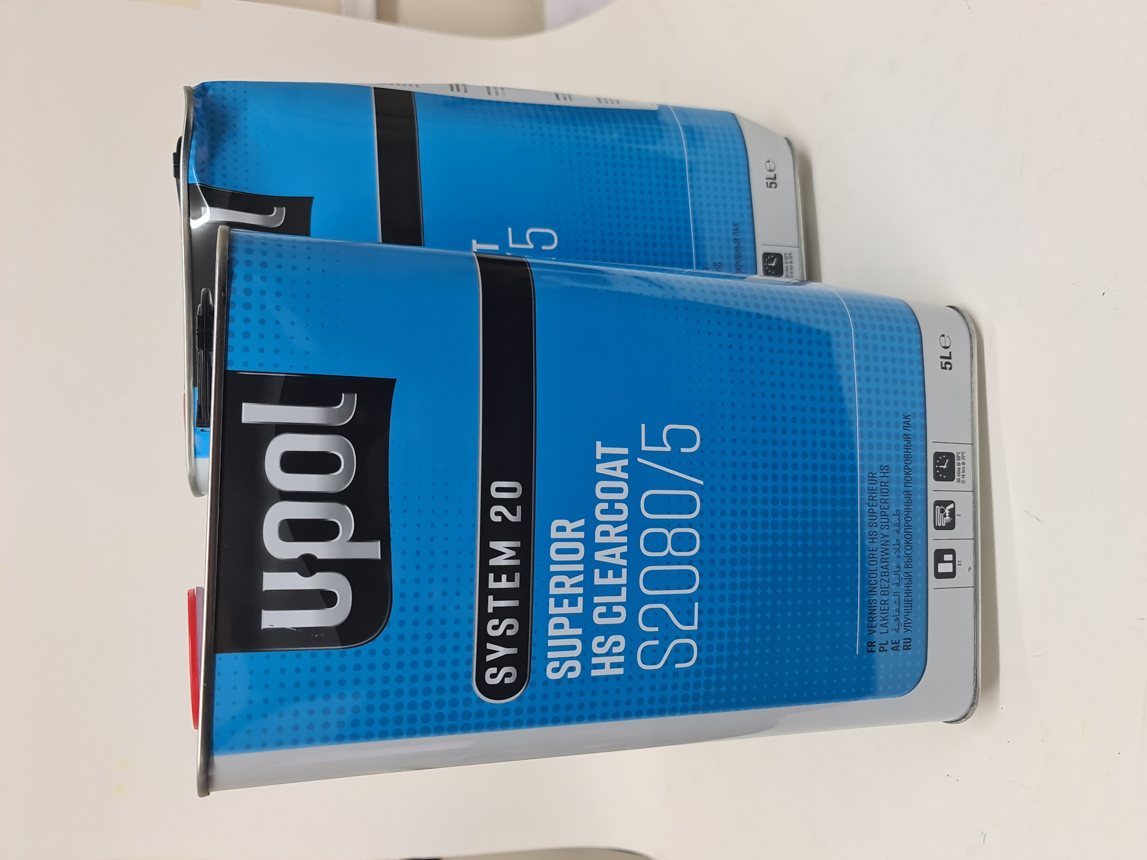 2 x 5Litre UPOL S2080 HS Clearcoat Damaged Tins