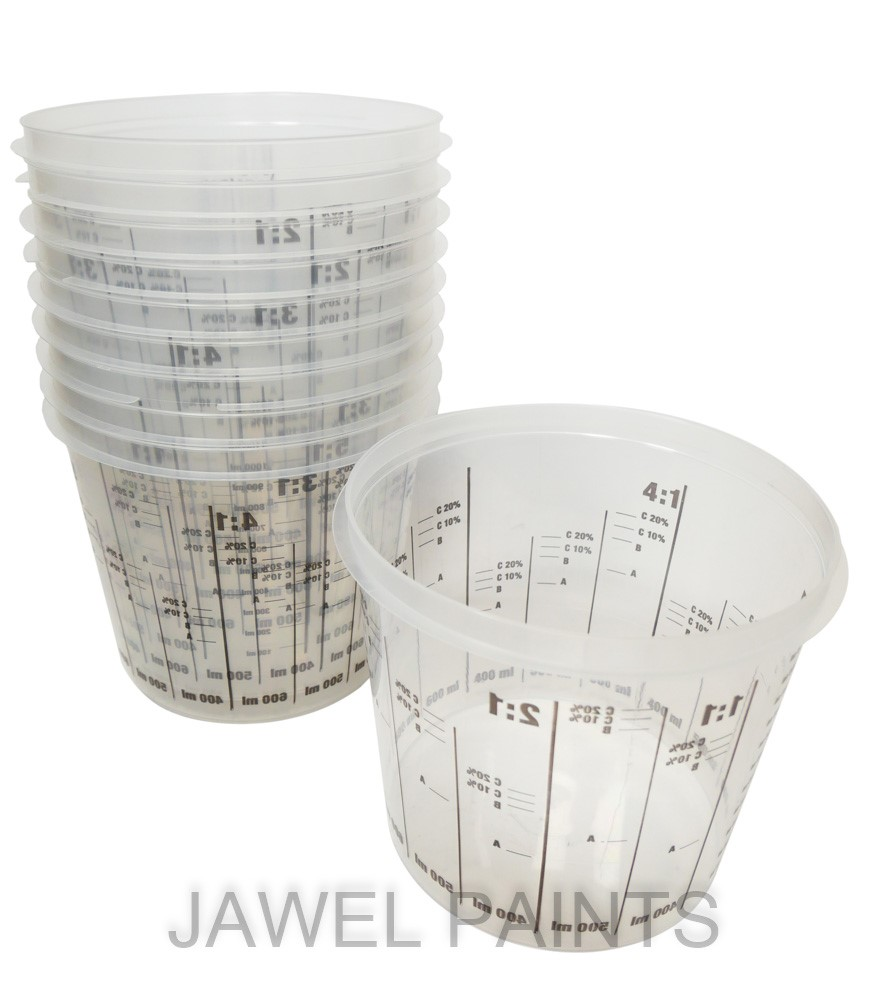 Plastic Mixing Cups 2.3Litre PK10 With Ratios