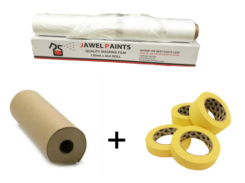 Masking Package 1, Includes Tape, Paper and White Static
