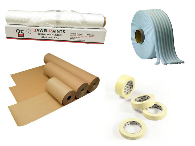 Masking Package 2, Includes Tape, Paper, Soft Edge Tape & Static