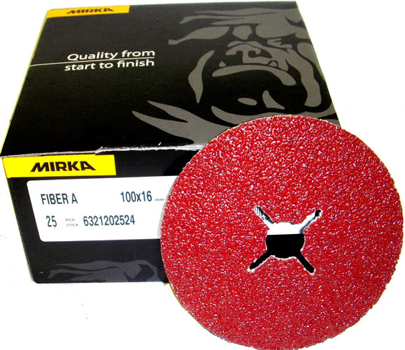 "4"" RhynoFibre Resin Bonded Disc's P24 Grit 100 x 16mm"