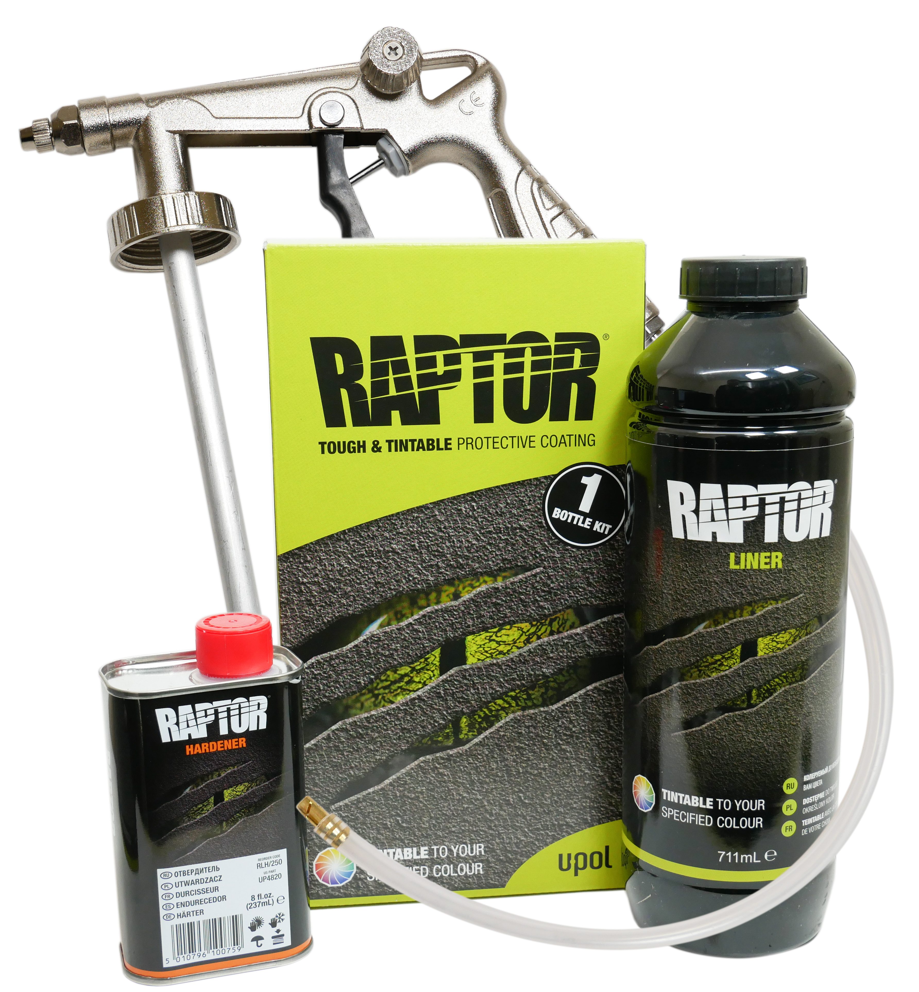 U-POL Raptor 1 Bottle Kit With Gun & Tinted To Any Colour